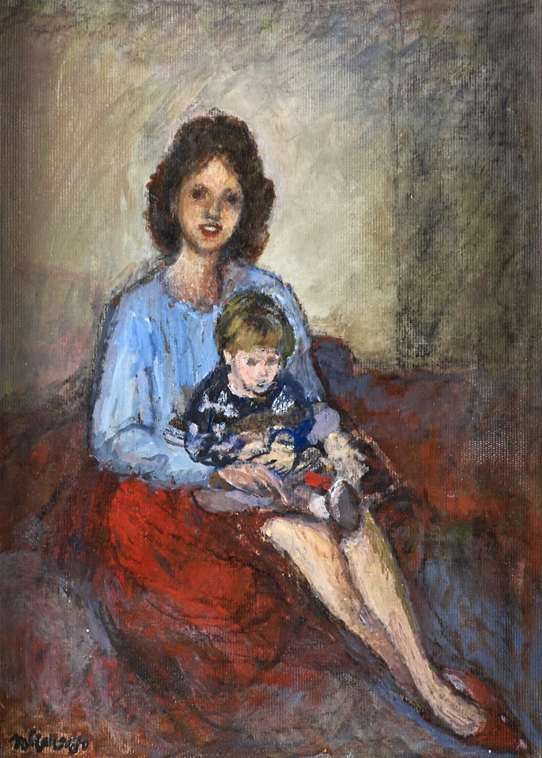 CHARLES JAMES MCCALL (1907-1989) -MOTHER AND CHILD, SIGNED AND DATED '88, OIL ON BOARD, 28 X 20.