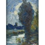 RONALD OSSORY DUNLOP, ARA, RBA (1894-1973) - BY THE ARUN, SIGNED, OIL ON BOARD, 22 X 16CM Good
