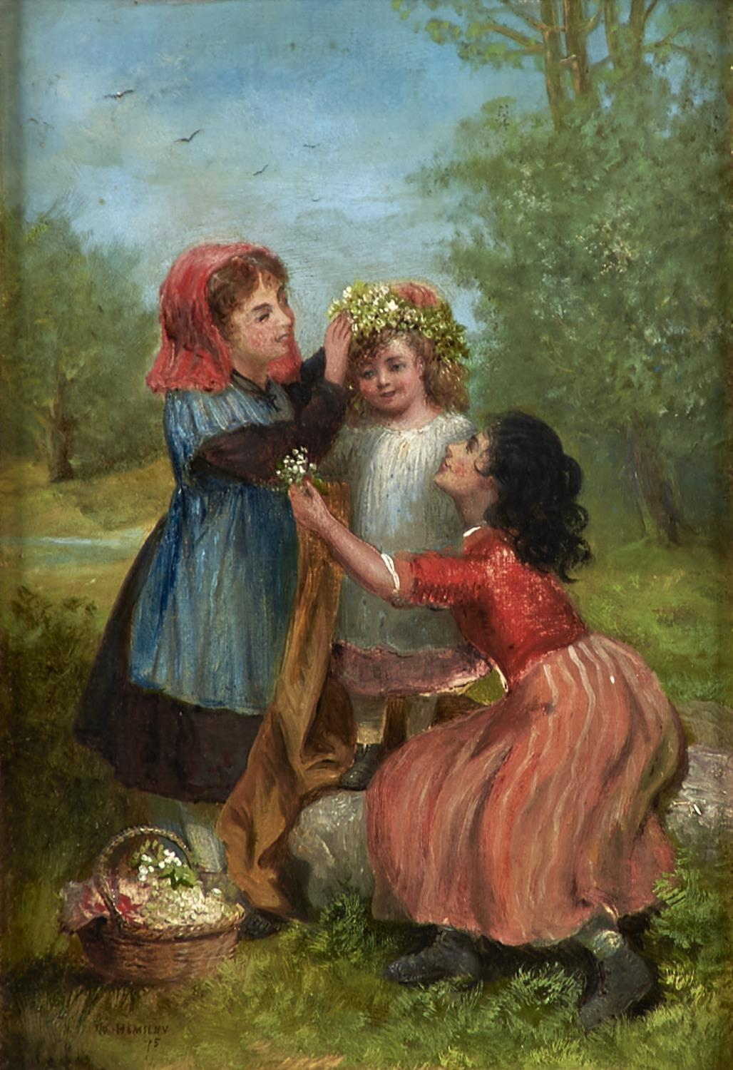 FOLLOWER OF WILLIAM HEMSLEY - CROWNING THE LITTLE PET WITH LILIES, BEARS SIGNATURE AND DATE, OIL