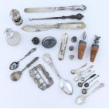 MISCELLANEOUS SMALL SILVER ARTICLES AND FLATWARE, TO INCLUDE A WAIST BUCKLE, SHIP, BOTTLE STOPPER,