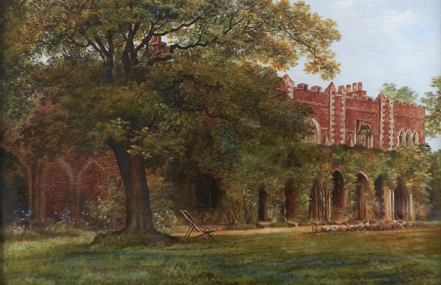 A. MELVILLE, EARLY 20TH C - THE GARDEN OF A FORTIFIED HOUSE WITH DECK CHAIR BENEATH A TREE,