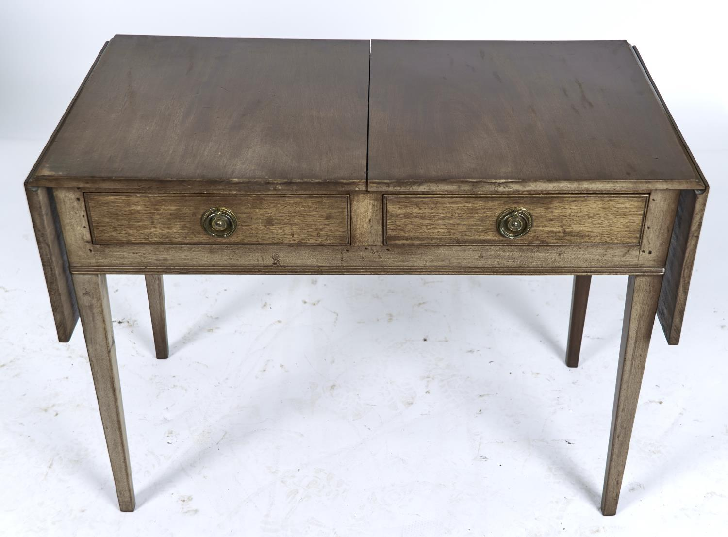 A MAHOGANY TWO DRAWER TABLE, THE RECTANGULAR TOP WITH PAIR OF FOLDING FLAPS, SCRATCH MOULDED DRAWERS - Image 2 of 2