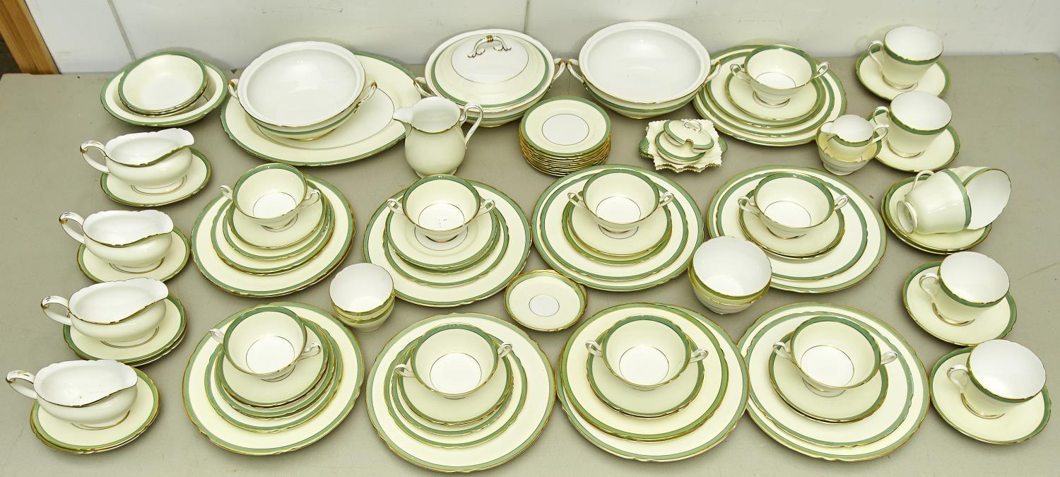 AN EXTENSIVE SHELLEY PORCELAIN DINNER SERVICE, PATTERN 12749, WITH PALE CREAM AND APPLE GREEN