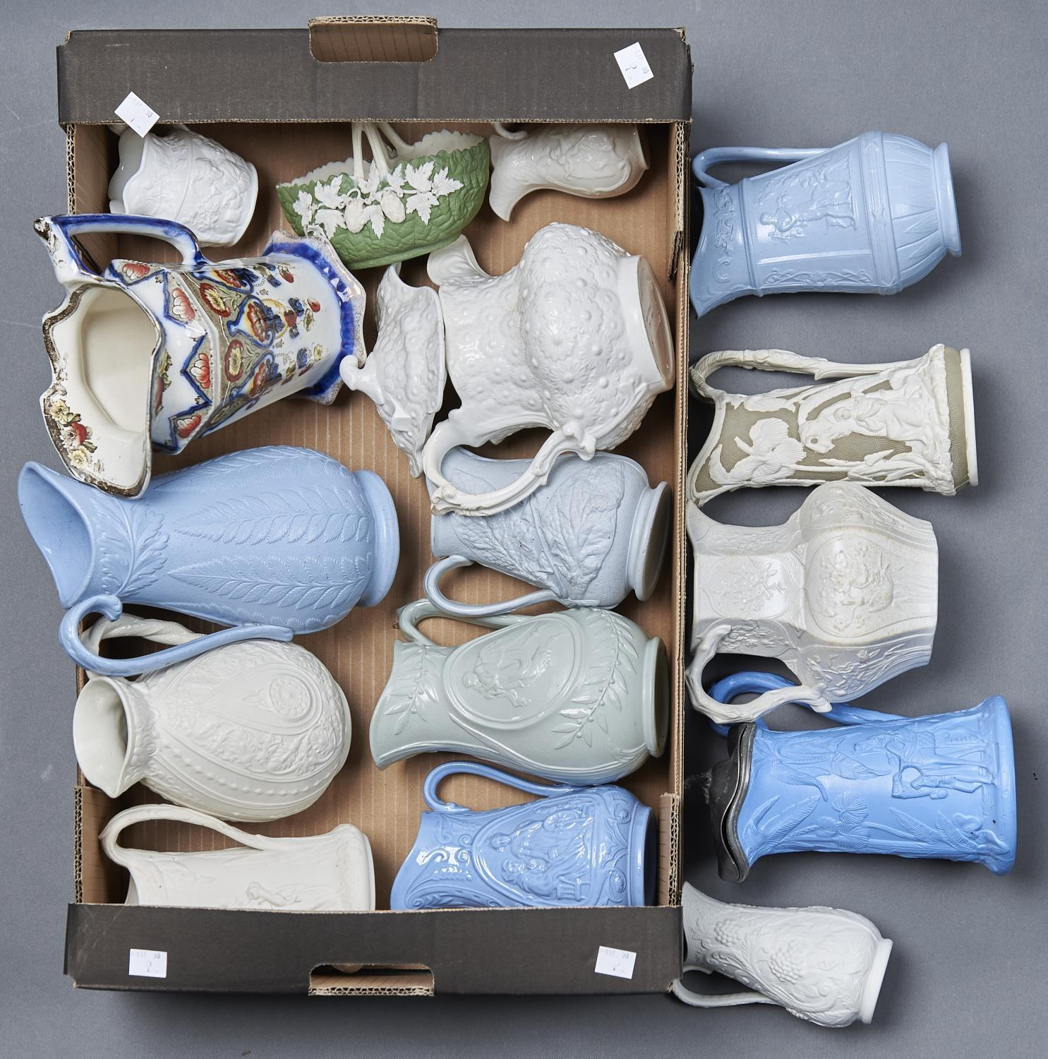 A COLLECTION OF VICTORIAN POTTERY, PARIAN STYLE AND OTHER JUGS, INCLUDING EXAMPLES BY DUDSON,