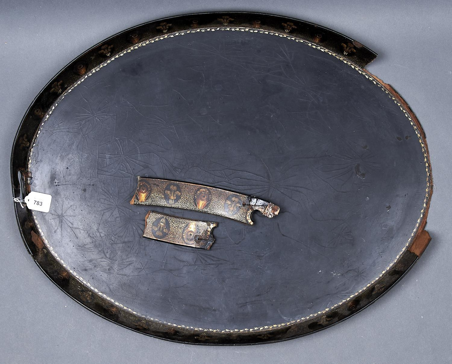 A REGENCY PAPIER MACHE STRAIGHT-EDGE TRAY, C1820, THE BORDER FINELY PAINTED WITH ALTERNATING