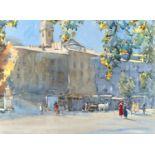 ARTHUR HENRY KNIGHTON-HAMMOND, RI, ROI, RSW (1875-1970) - A RIVIERA COASTAL TOWN, SIGNED,