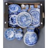 A ROYAL STAFFORDSHIRE POTTERY PEKIN PATTERN FLOW BLUE DISH, AN HM & CO LIMITED BLUE AND WHITE