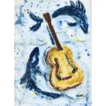 IAN E DUNLOP, 20TH / 21ST C - MACKEREL AND GUITAR, SIGNED, SIGNED AGAIN, DATED 2001 AND INSCRIBED ON