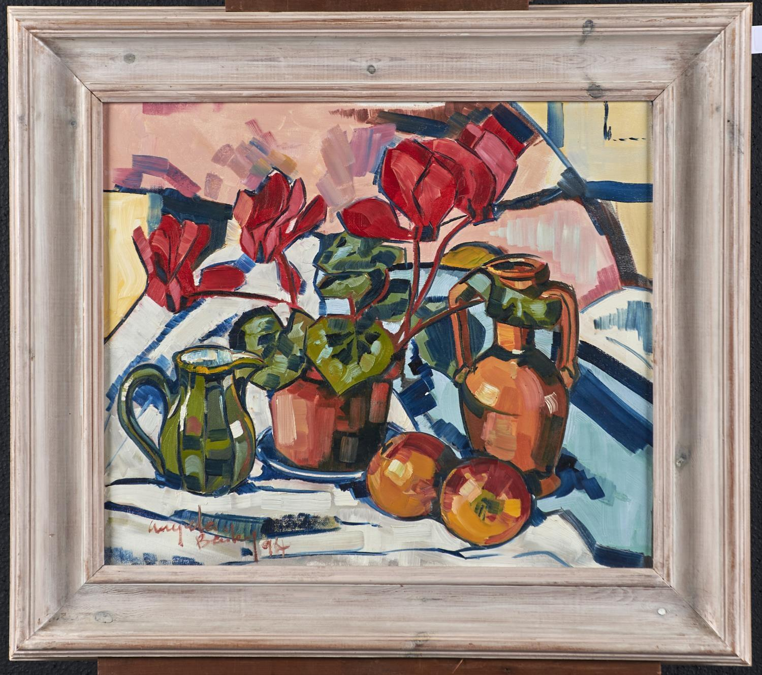ANGELA BAILEY, 20TH/21ST CENTURY - STILL LIFE WITH CYCLAMEN AND FRUIT, SIGNED AND DATED '94, - Image 2 of 3