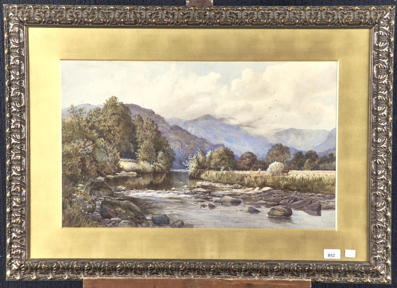 RICHARD WANE (1852-1904)- MOUNTAINOUS LANDSCAPE WITH FIGURES LOADING HAY, SIGNED AND DATED 1878, - Image 2 of 2