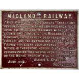 RAILWAYANA. MIDLAND RAILWAY CAST IRON ANTI TRESPASSING NOTICE DATED JUNE 1906, 51 X 67CM Undamaged