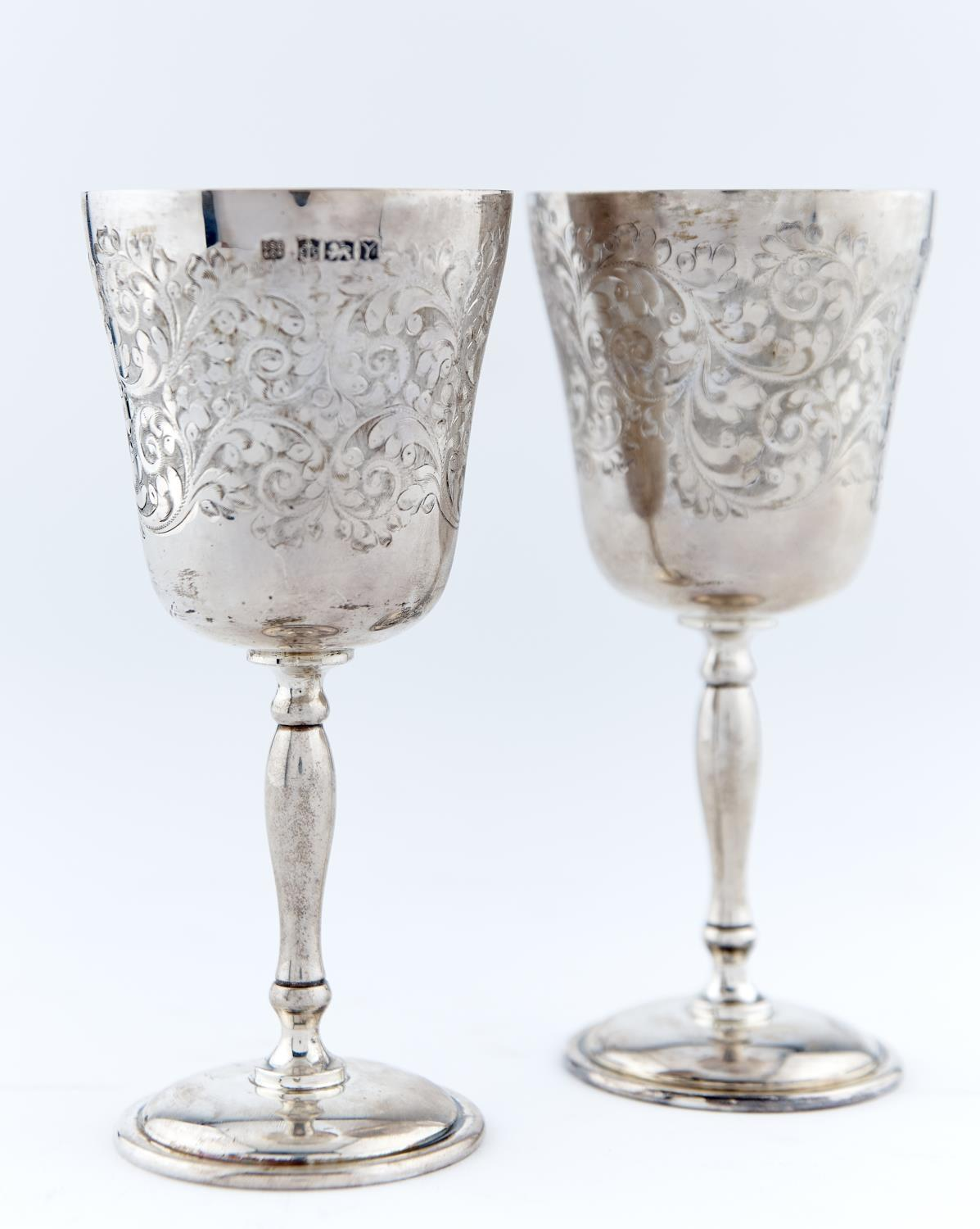 A SET OF SIX ELIZABETH II  SILVER GOBLETS, THE ROUNDED FUNNEL BOWL FOLIATE ENGRAVED AROUND A - Image 2 of 2