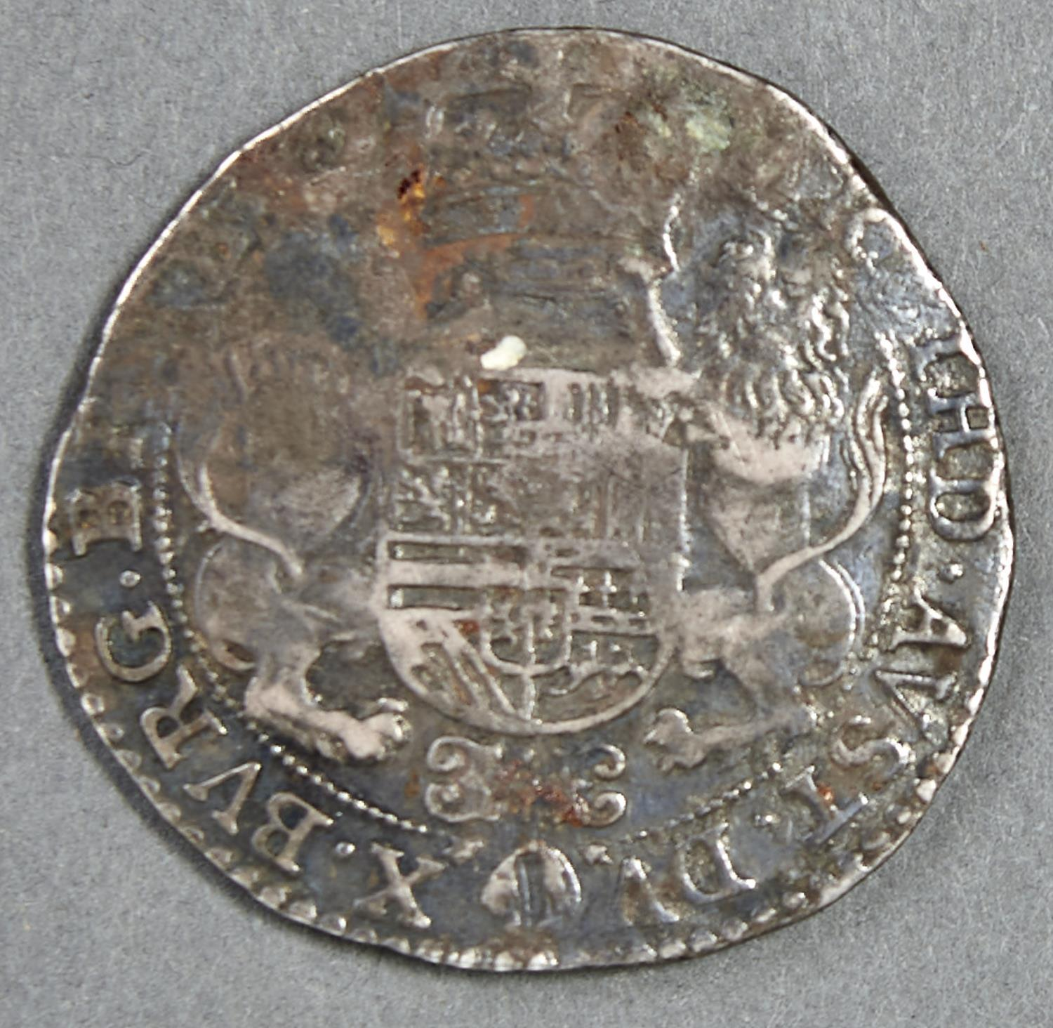 SPANISH NETHERLANDS, BRABANT, PHILIP IV, DUCATON, 1634, POSSIBLY A WRECK FIND, FINE+, WITH A BOLD - Image 2 of 2