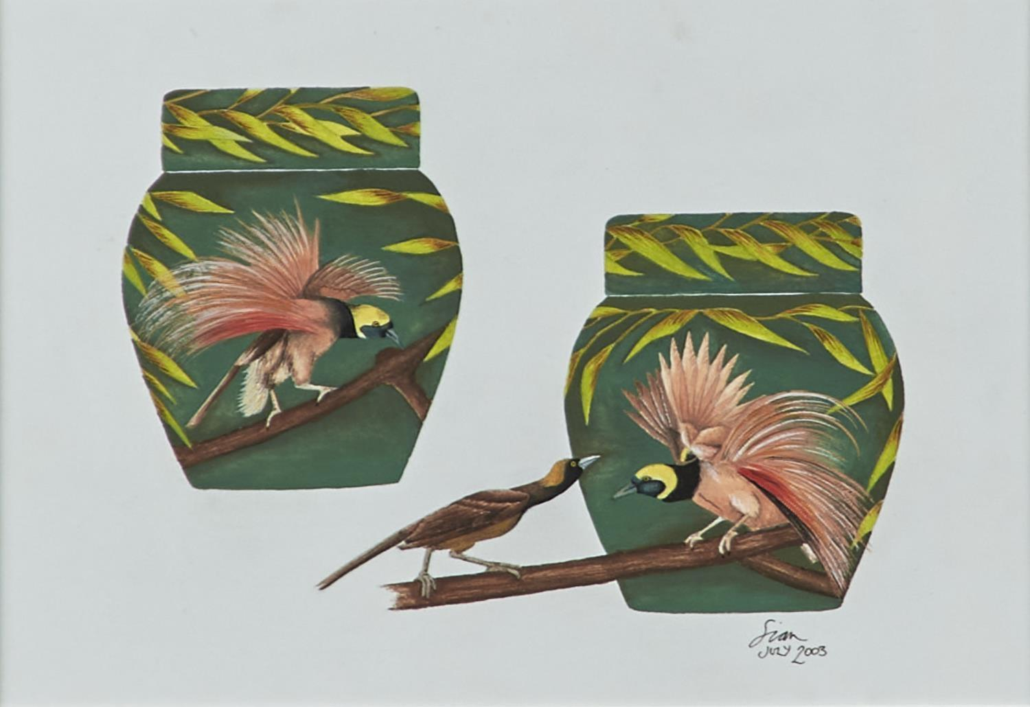SIAN LEEPER - BIRD OF PARADISE, DESIGN FOR MOORCROFT, SIGNED AND DATED JULY 2003, GOUACHE, 14 X 20CM