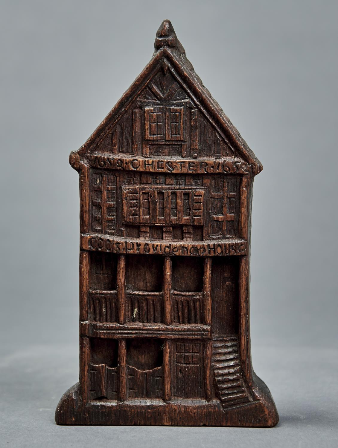 A CARVED OAK MODEL OF THE FACADE OF GODS PROVIDENT HOUSE, CHESTER., LATE 19TH C, WITH INSCRIPTION