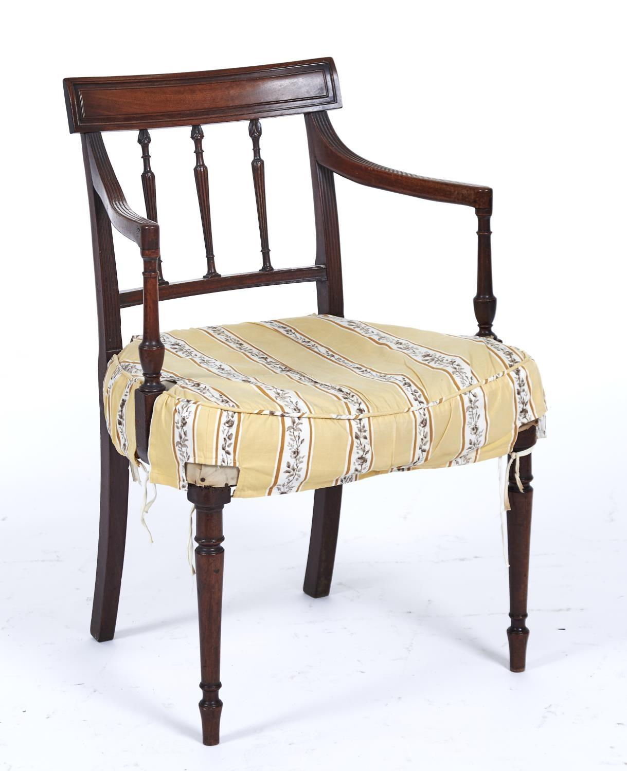 A SET OF SEVEN MAHOGANY SHERATON STYLE DINING CHAIRS, LATE 19TH / EARLY 20TH C, THE PANELLED CONCAVE - Image 2 of 2