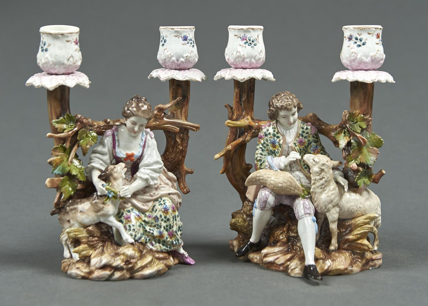 A PAIR OF VOLKSTEDT SHEPHERD AND SHEPHERDESS CANDELABRA, LATE 19TH C, 19CM H, CROSSED PITCHFORKS