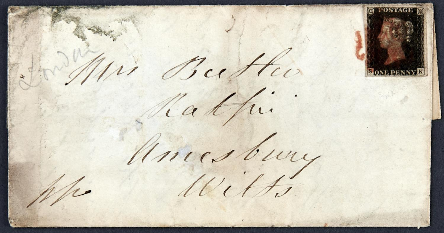 GREAT BRITAIN 1840 1d black plate 8 SK tied by red MC to E from London to Amesbury dated 22 November