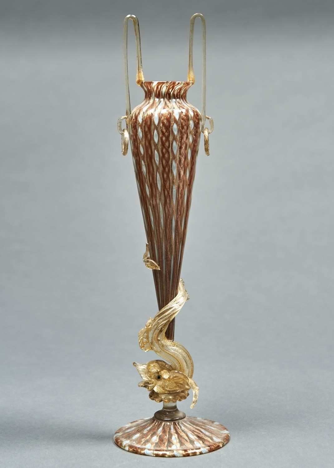 A VENETIAN BALOTON-BLOWN GLASS VASE WITH DOLPHIN STEM, PROBABLY SALVIATI & CO, C1900, WITH