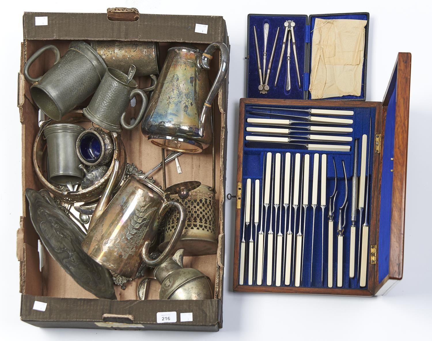MISCELLANEOUS PLATED WARE, TO INCLUDE A TABLE SERVICE IN OAK CANTEEN