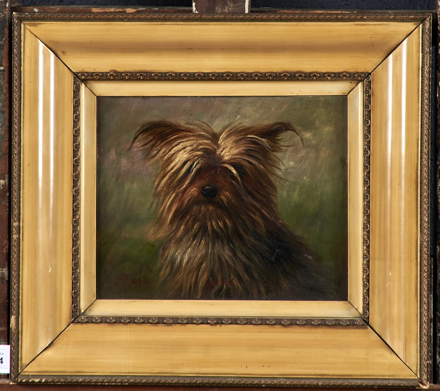 """HENRY CROWTHER, FL 1875-1933 - """"DIRK"""", A YORKSHIRE TERRIER, SIGNED, DATED 1914 AND INSCRIBED (IN - Image 2 of 3"""