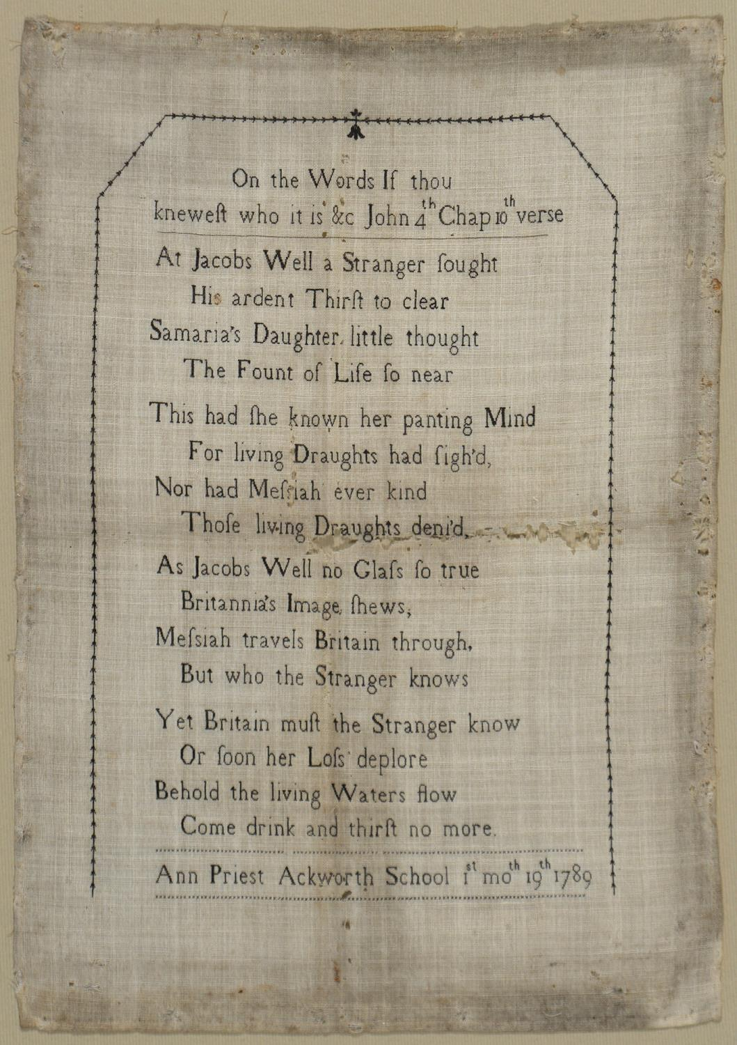 AN EARLY ACKWORTH SCHOOL QUAKER SAMPLER ANN PRIEST 1ST MO.TH 19TH, 1789,WORKED IN BLACK WITH ON