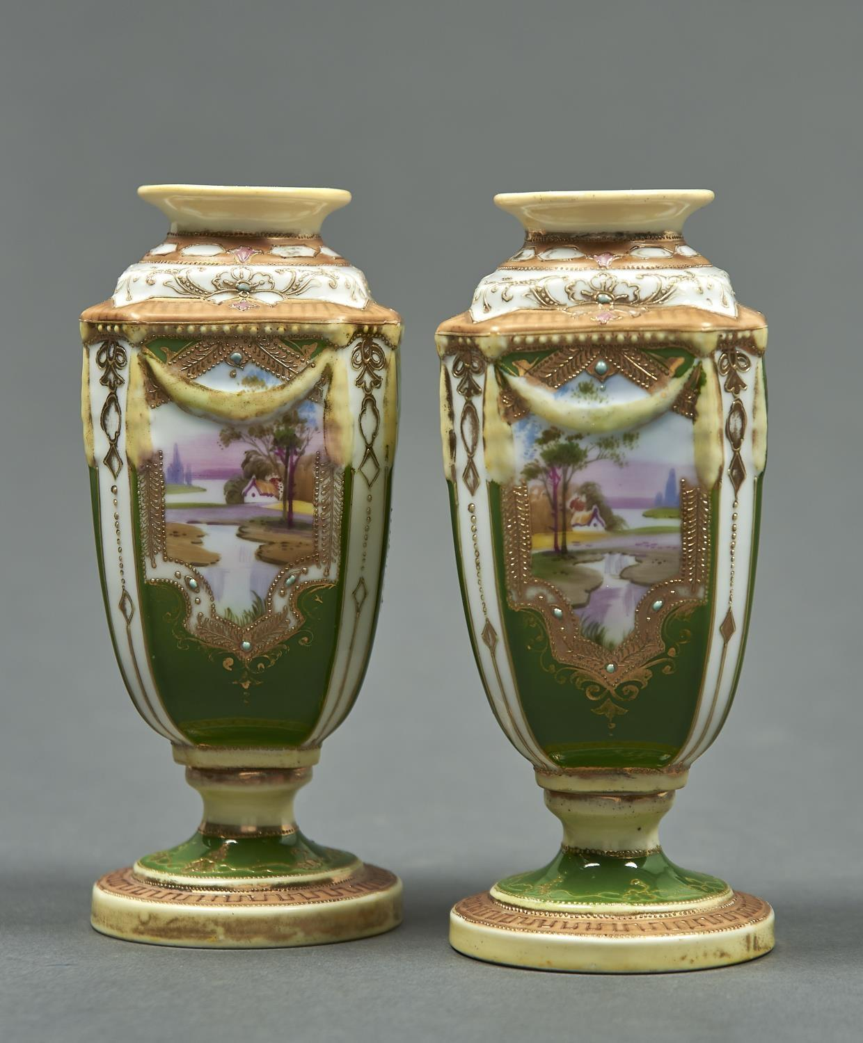 A PAIR OF NORITAKE GREEN GROUND VASES, EARLY 20TH C, OF SQUARE SECTION AND MOULDED WITH SWAGS,
