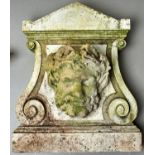 GARDEN ORNAMENT. A STATUARY MARBLE TABLET, EARLY 20TH C, WITH TRIANGULAR PEDIMENT, VOLUTES AND