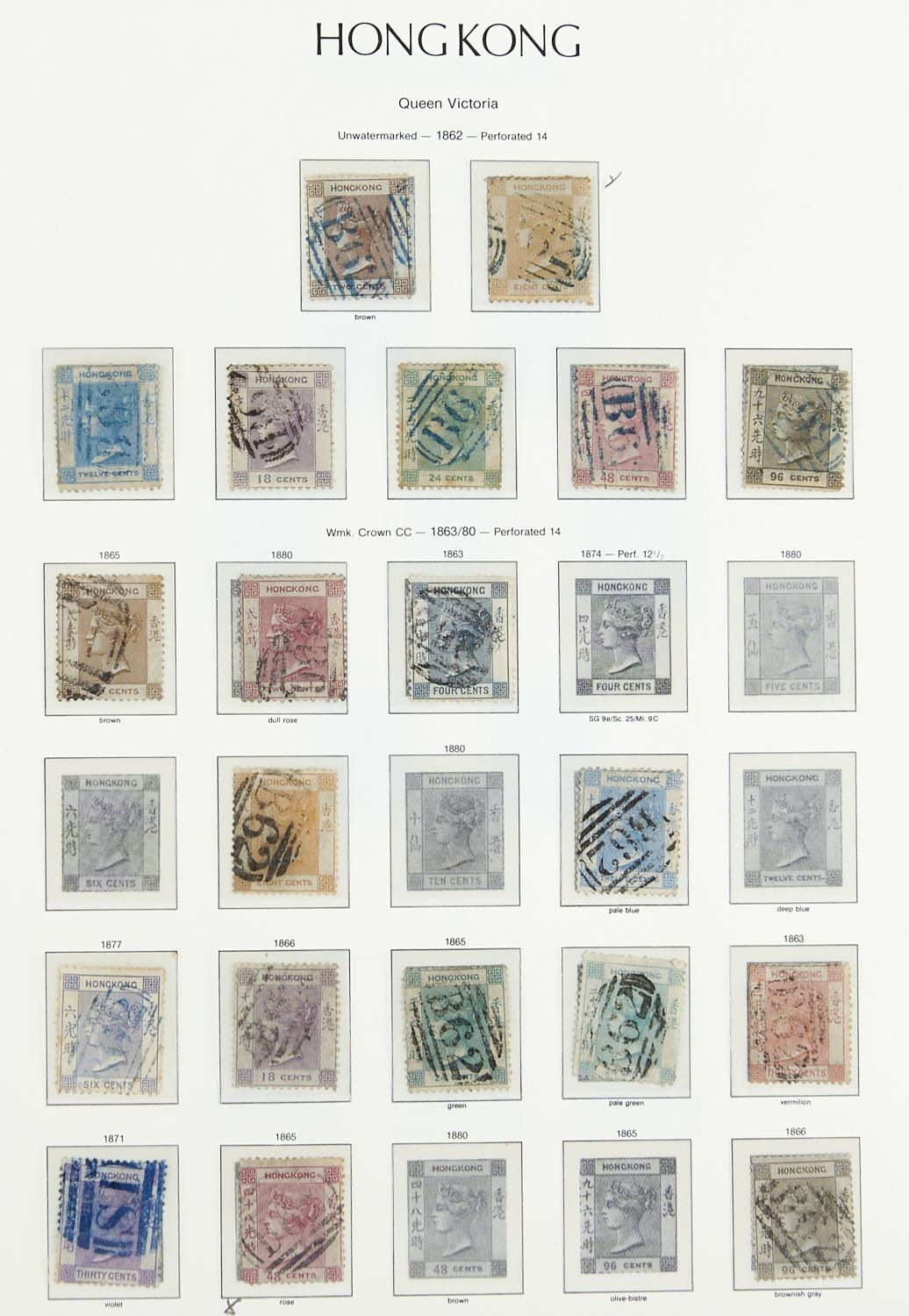 HONG KONG 1862-1949 The used collection inc. 1861 2c to 96c 1866-71 values inc.96c brownish-grey.