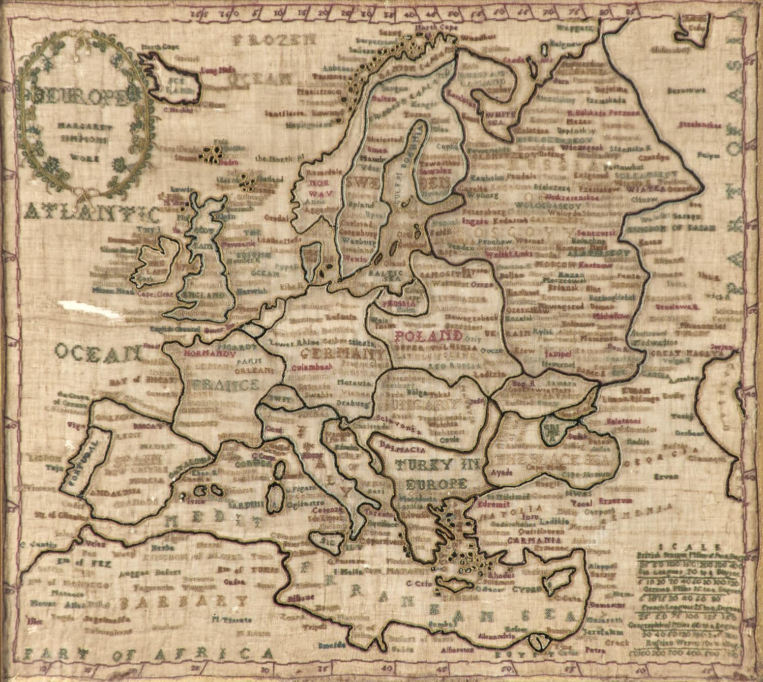 TWO ENGLISH LINEN MAP SAMPLERS OF ENDLAND AND WALES AND EUROPE, NELLIE SIMPSON'S WORK AND MARGARET