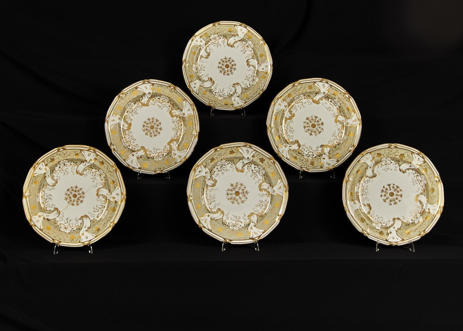 A SET OF SIX DAVENPORT BONE CHINA MOULDED EDGE DINNER PLATES, C1835-40, DECORATED WITH A GREY AND