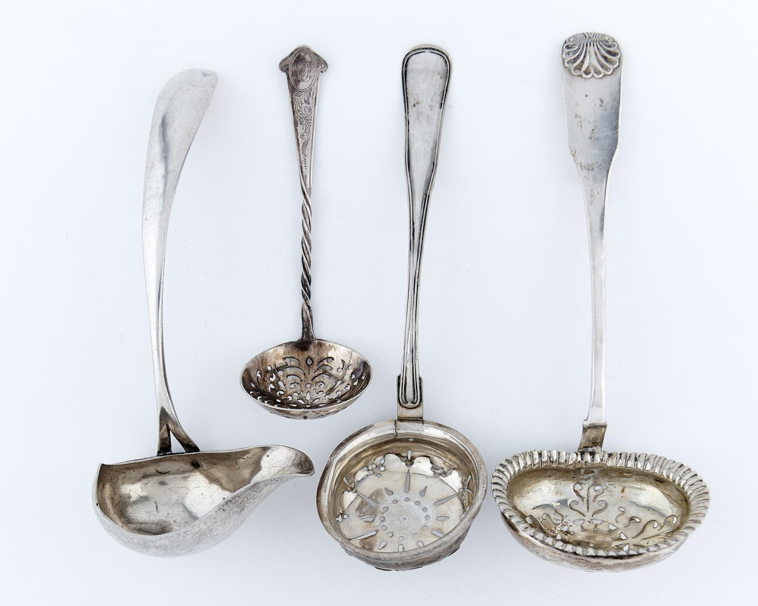 TWO DANISH SILVER SUGAR SIFTERS, 19TH AND 20TH C, ANOTHER CONTINENTAL SILVER SUGAR SIFTER AND A