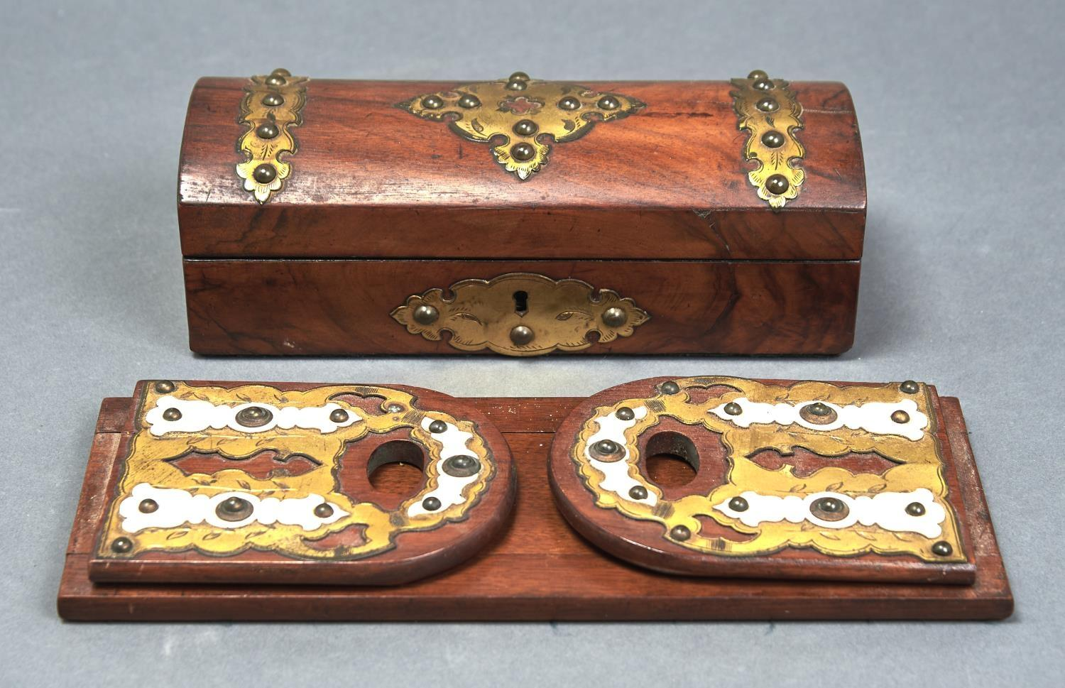 A VICTORIAN WALNUT GLOVE BOX AND A SIMILAR CONTEMPORARY BOOKSLIDE, C1870, APPLIED WITH SHAPED AND