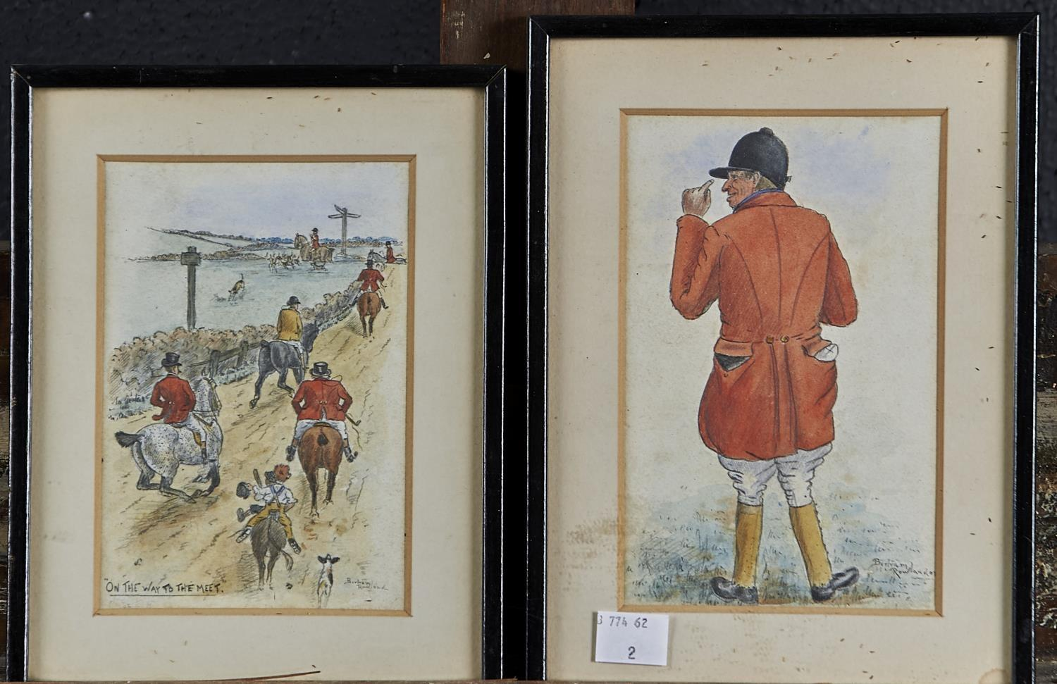 BERTRAM ROWLAND, 19TH / 20TH C - FOX HUNTER FROM BEHIND; ON THE WAY TO THE MEET, TWO, BOTH SIGNED
