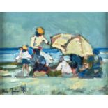 RON FOSTER, 20TH/21ST CENTURY - FIGURES ON A BEACH, SIGNED, OIL ON CANVAS, 21.5 X 28CM Good
