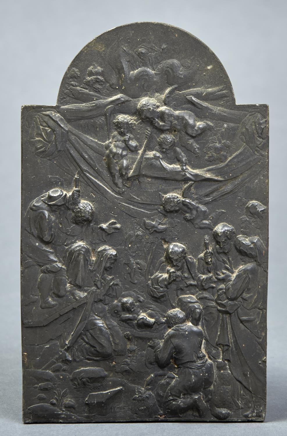 A CONTINENTAL PEWTER PLAQUETTE OF THE ADORATION OF THE SHEPHERDS, LATE 19TH C, 24 X 14.5CM Good