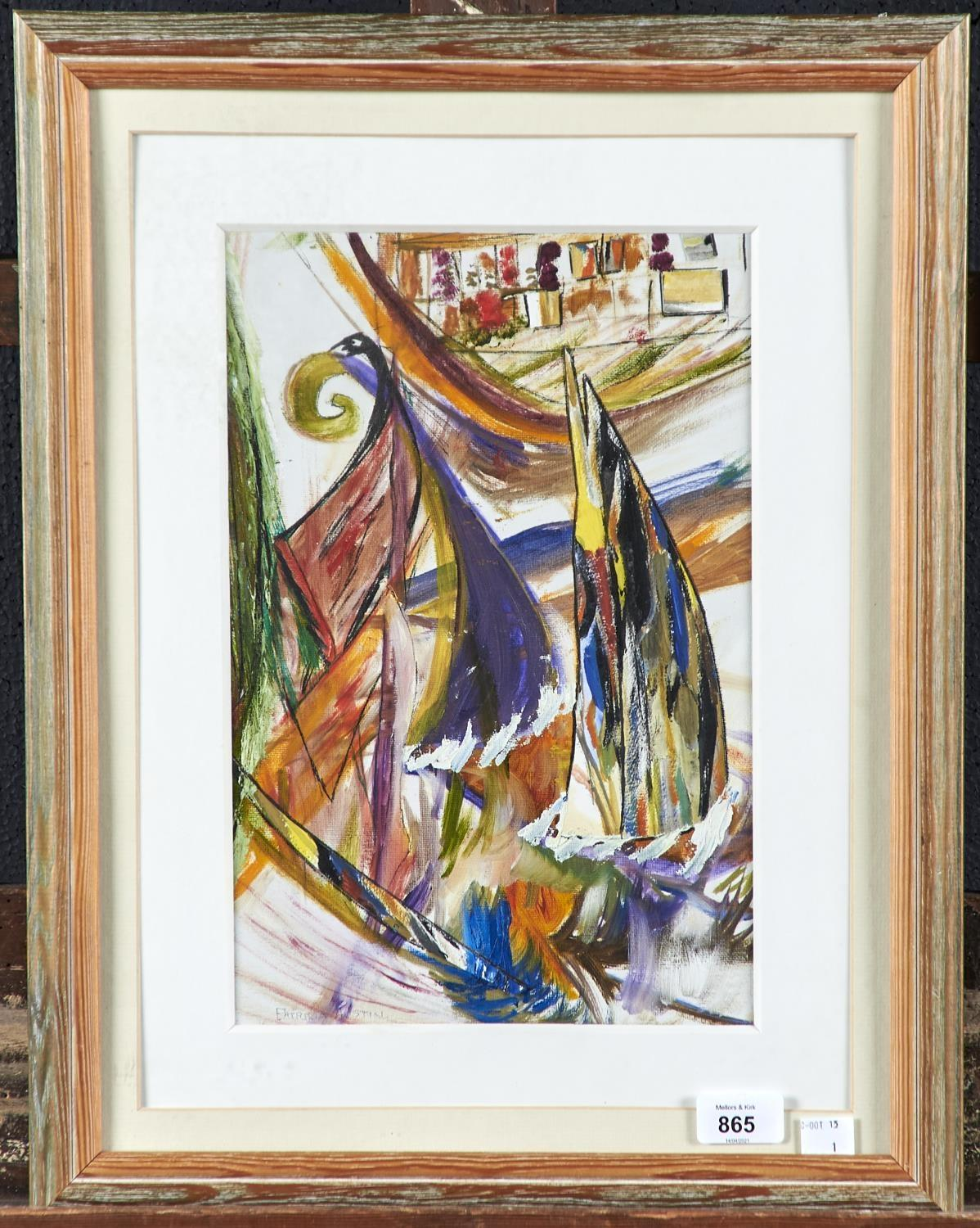 PATRICIA AUSTIN, 20TH/21ST CENTURY - THE RACE, SIGNED, SIGNED AGAIN AND INSCRIBED VERSO, OIL AND