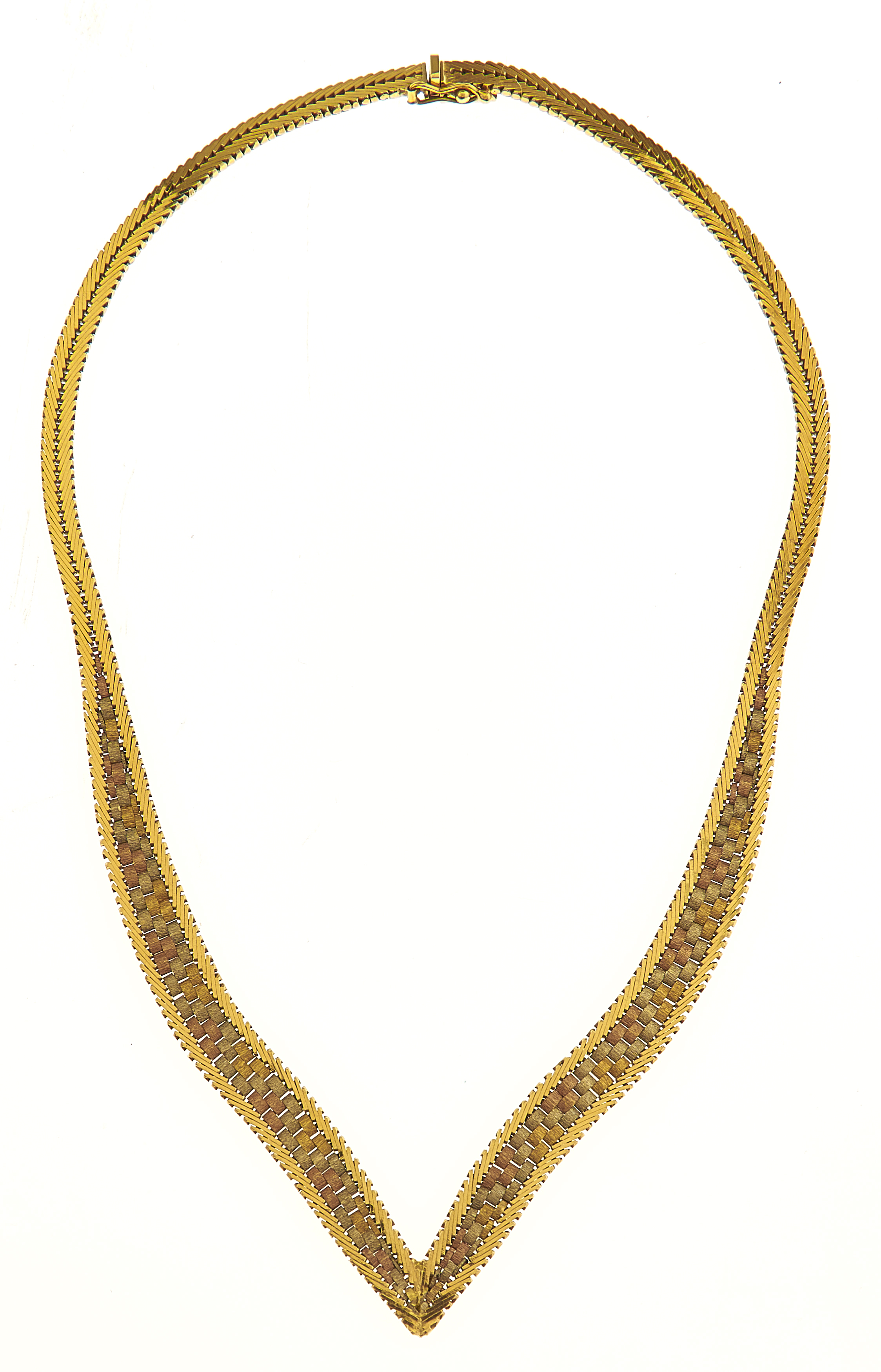 A 18CT THREE COLOUR GOLD NECKLACE, APPROXIMATELY 42CM L, IMPORT MARKED EDINBURGH 1975, 43.9G Good