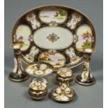 A NORITAKE DRESSING TABLE SET, EARLY 20TH C, PAINTED WITH LANDSCAPES IN RAISED GILT FRAMES