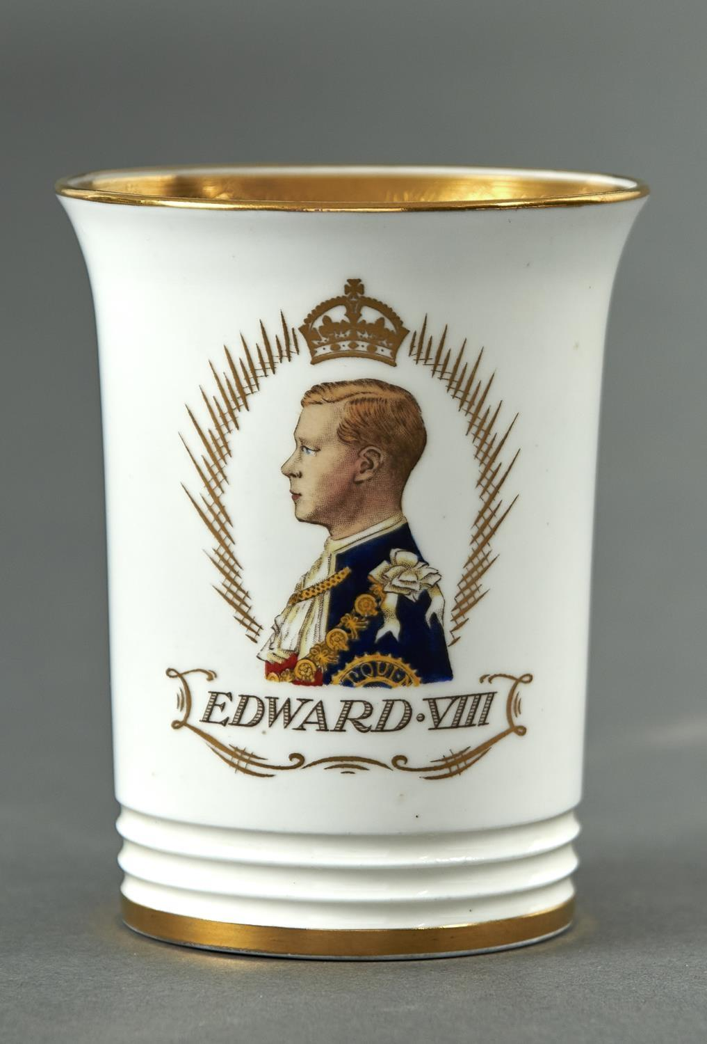 EDWARD VIII. AN ART DECO MINTON BONE CHINA COMMEMORATIVE BEAKER, 1937, 10.5CM H, GILT PRINTED MARK