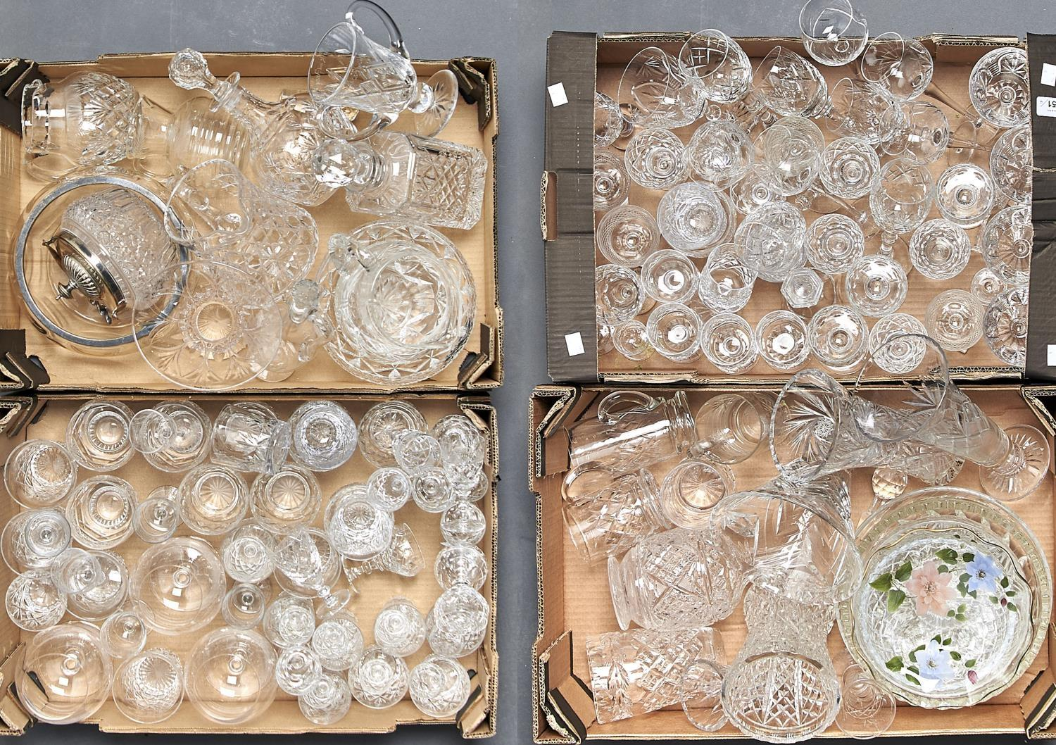 MISCELLANEOUS CUT AND OTHER GLASSWARE, TO INCLUDE DECANTERS AND STOPPERS, VASES, BOWLS, JUGS,
