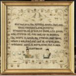 A LAKE DISTRICT LINEN SAMPLER, WORKED BY JANE WHITAKER AGED 11 BORN JUNE THE 9 1809 MILNTHROP [SIC],