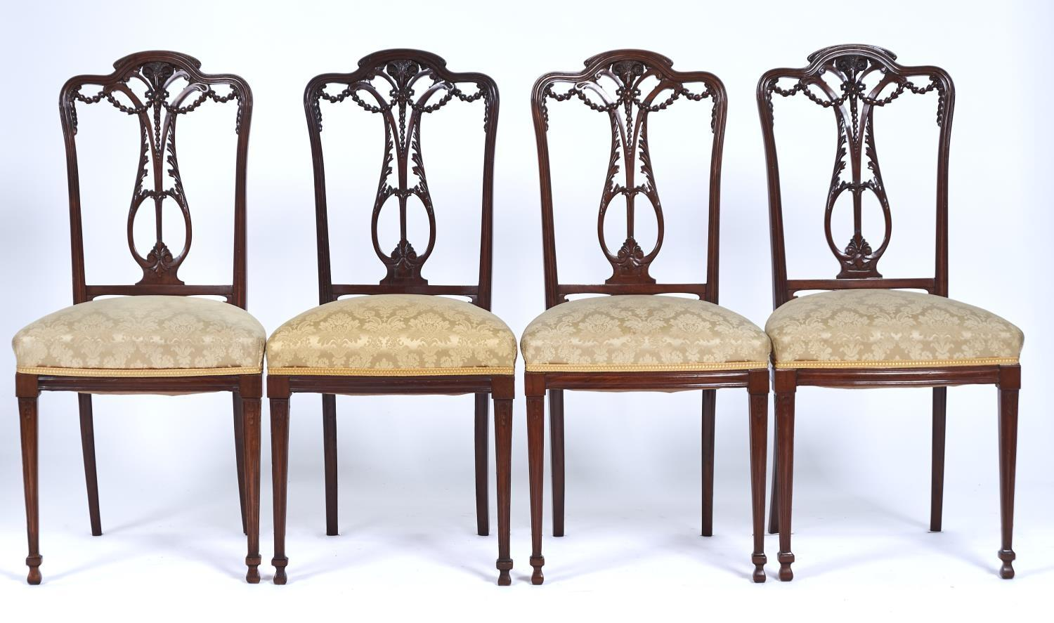 A MAHOGANY SALON SUITE, EARLY 20TH C, IN NEO CLASSICAL STYLE, THE PAIR OF BERGERES AND CANAPE WITH - Image 3 of 3