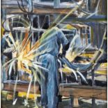 ELEANOR MAYHEW, 20TH/21ST CENTURY - THE WELDER, SIGNED, OIL ON CANVAS, 38 X 38CM Good condition