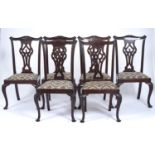 A SET OF SIX GEORGE III STYLE MAHOGANY DINING CHAIRS, C1920, ACANTHUS CARVED SERPENTINE CRESTING