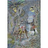 MIRIAM LOUISE 'MIM' BROWN, 20TH/21ST CENTURY - SIR TOM RIDES OUT TO SEEK THE DRAGON, SIGNED,