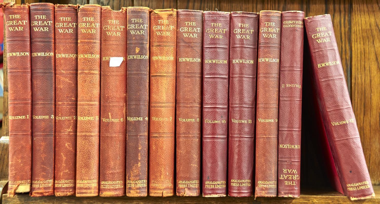 H W WILSON, EDITOR, THE GREAT WAR, 13 VOLS, ILLUSTRATED, 1918 AND C, ORIGNAL CLOTH WORN (13)