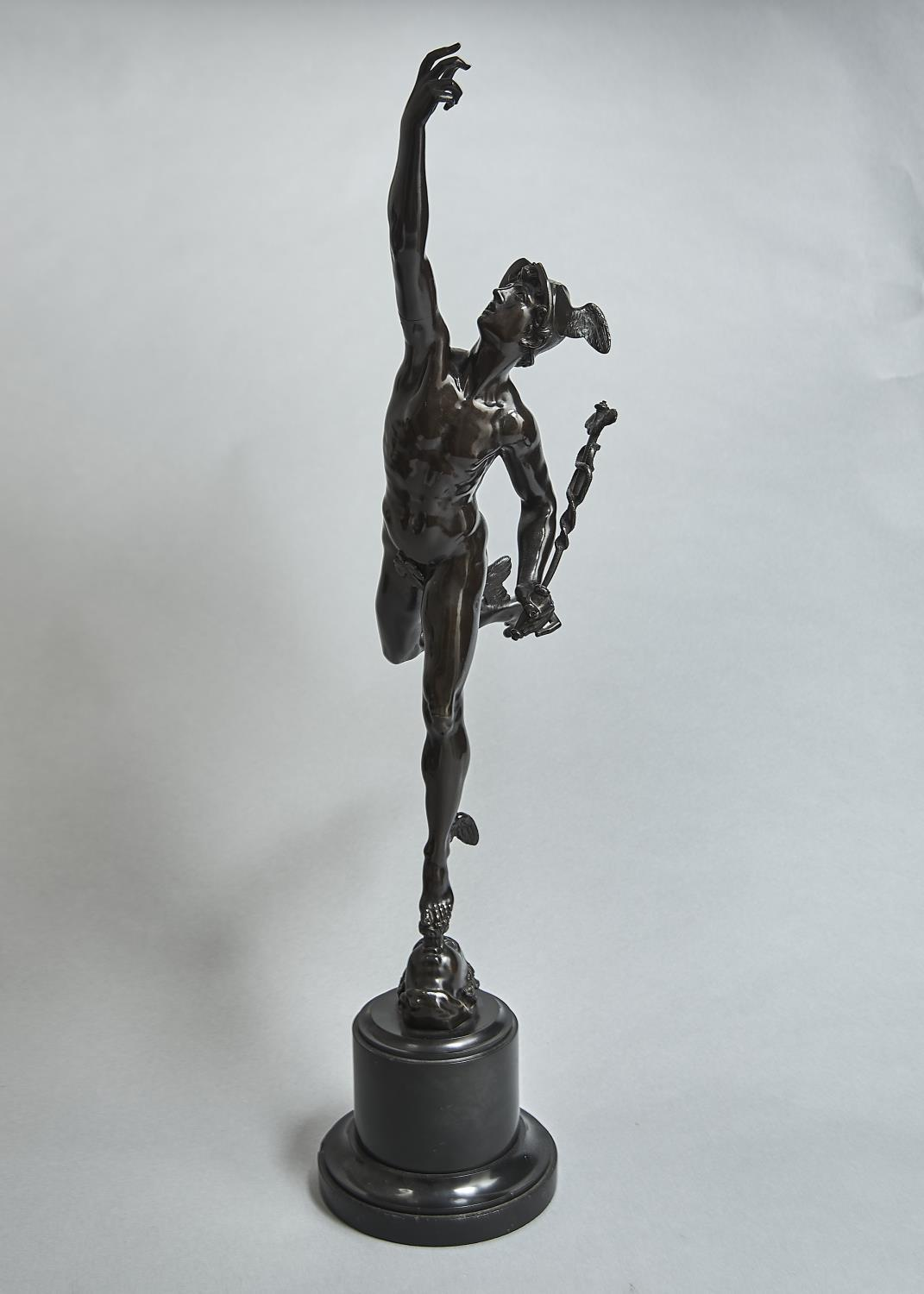A FRENCH BRONZE STATUETTE OF MERCURY AFTER GIAMBOLOGNA, LATE 19TH C, ON NERO BELGICA MARBLE SOCLE,