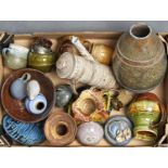 MISCELLANEOUS, MAINLY BRITISH, STUDIO POTTERY, 20TH C AND AN ART NOUVEAU BELGIAN SACK SHAPED