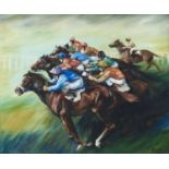 BRITISH SCHOOL, 1973 - HORSE RACING, INDISTINCTLY SIGNED YOUNG AND DATED, OIL ON BOARD, 61 X 74CM